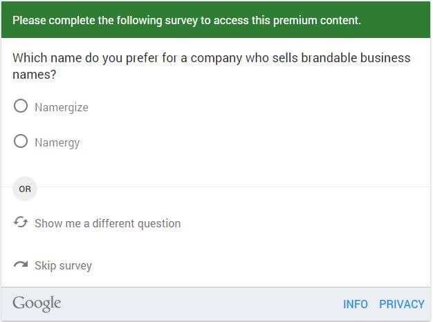 Google Consumer Survey - Surveyor View